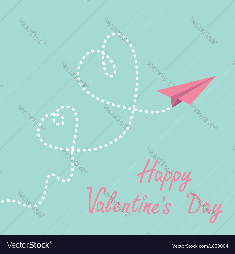Origami paper plane two dash heart valentines day vector | Price: 1 Credit (USD $1)