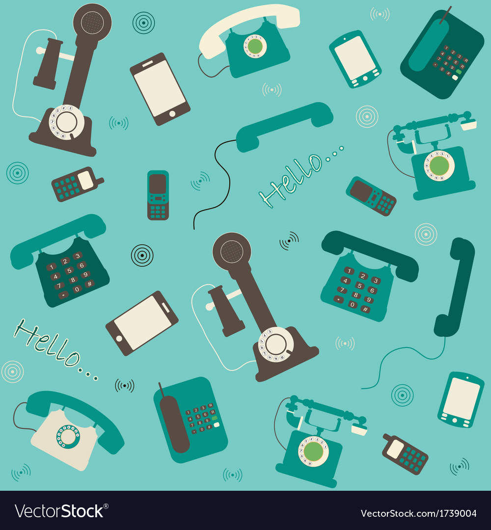 Retro and modern telephones background vector | Price: 1 Credit (USD $1)