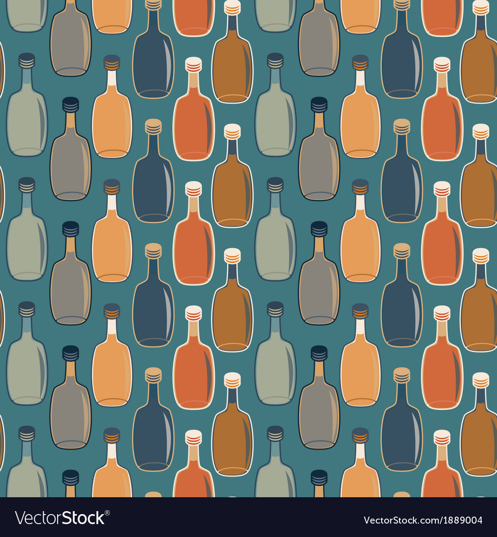Seamless alcohol bottles pattern on turquoise vector | Price: 1 Credit (USD $1)
