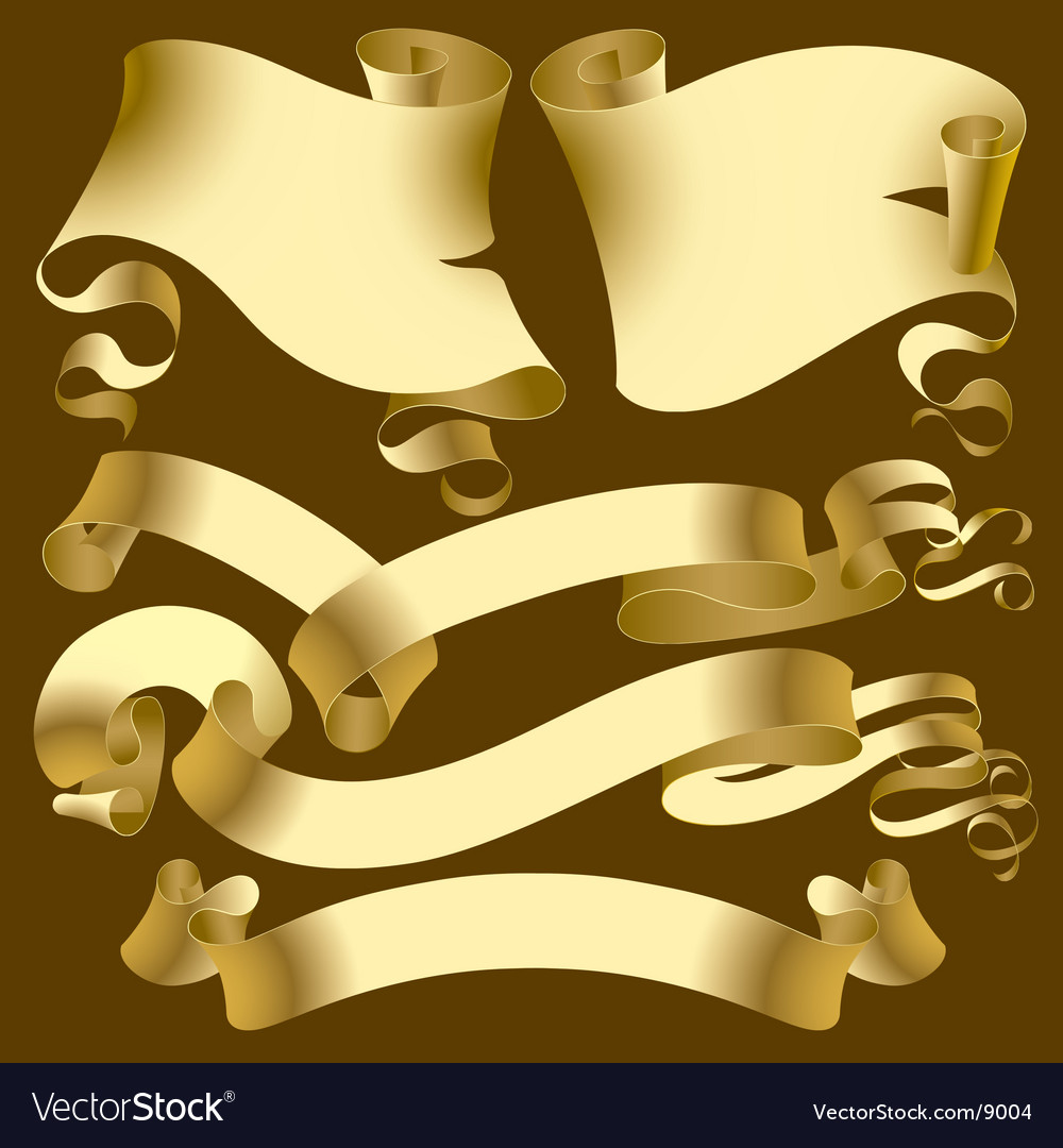 Set of old gold banners vector | Price: 3 Credit (USD $3)