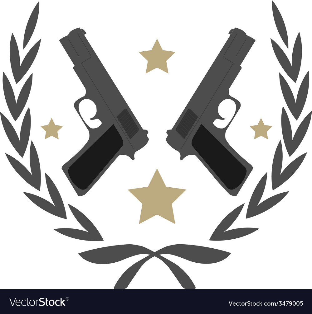 2 pistols and stars in laurel wreath emblem vector | Price: 1 Credit (USD $1)