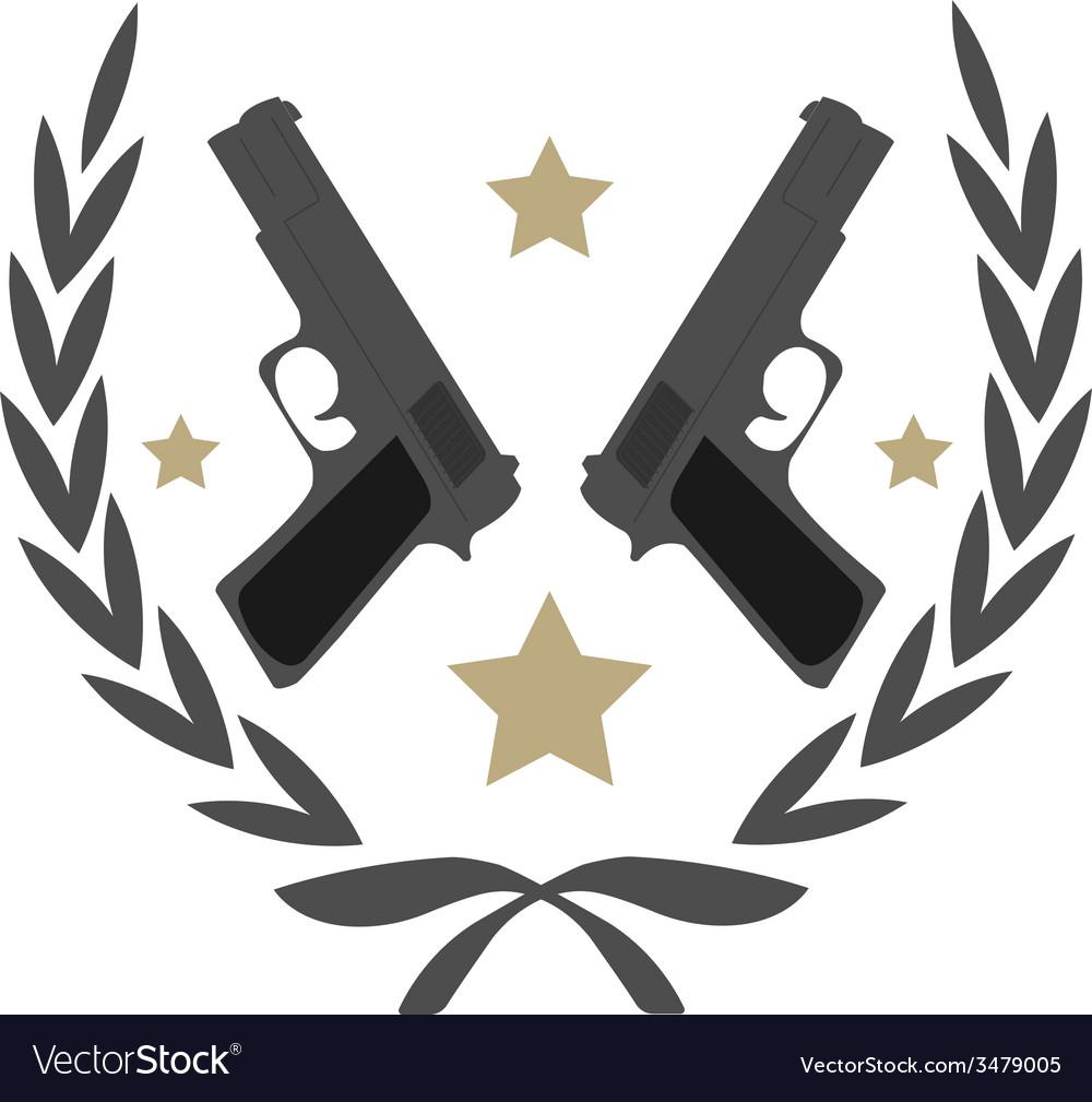 2 pistols and stars in laurel wreath emblem vector | Price: 1 Credit (USD $1)
