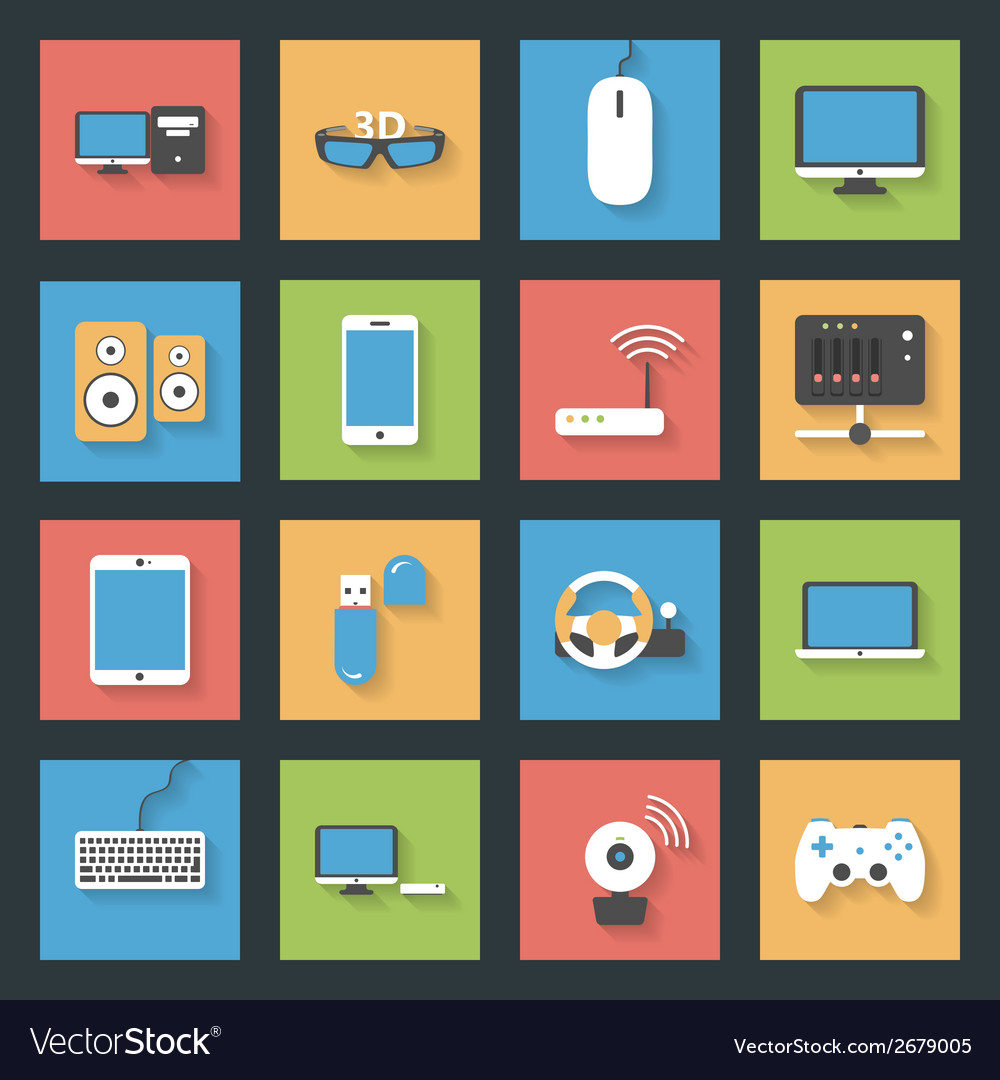 Computers peripherals and network devices flat vector   Price: 1 Credit (USD $1)