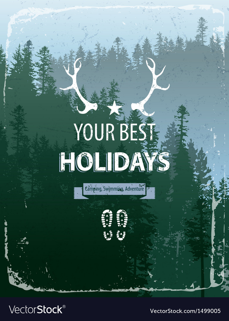 Coniferous forest with text vector | Price: 3 Credit (USD $3)