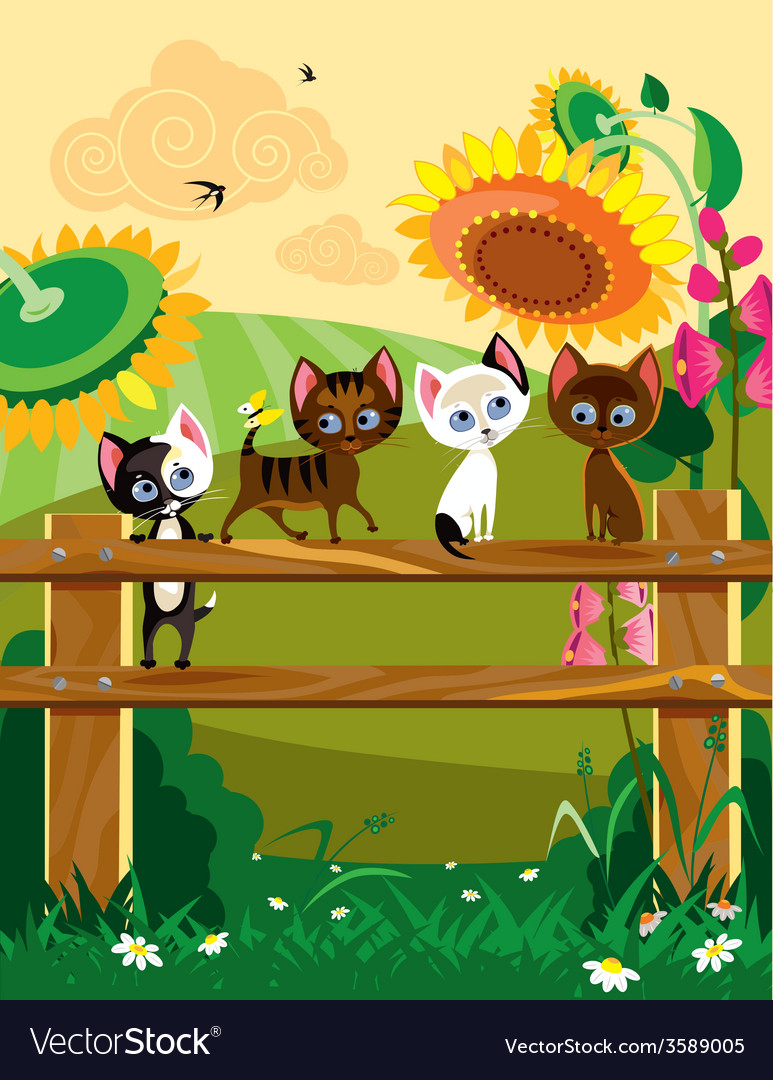 Kittys at summer vector | Price: 5 Credit (USD $5)