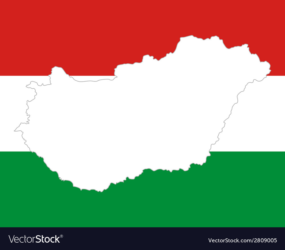 Map and flag of hungary vector | Price: 1 Credit (USD $1)