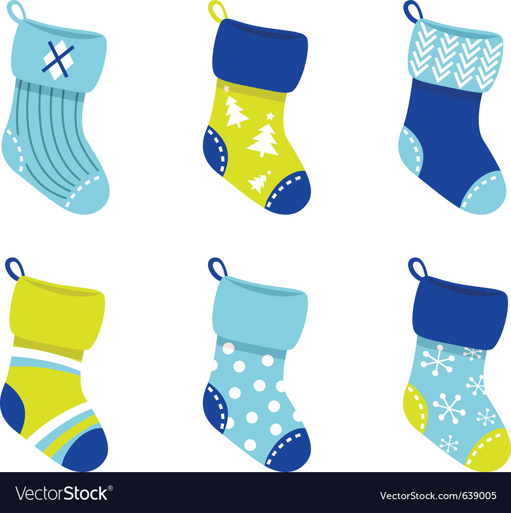 Retro christmas socks vector