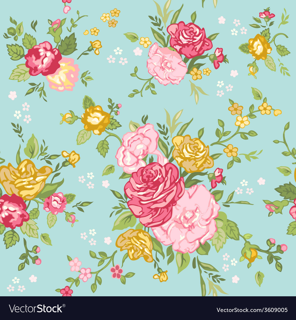 Seamless floral shabby chic background vector | Price: 1 Credit (USD $1)