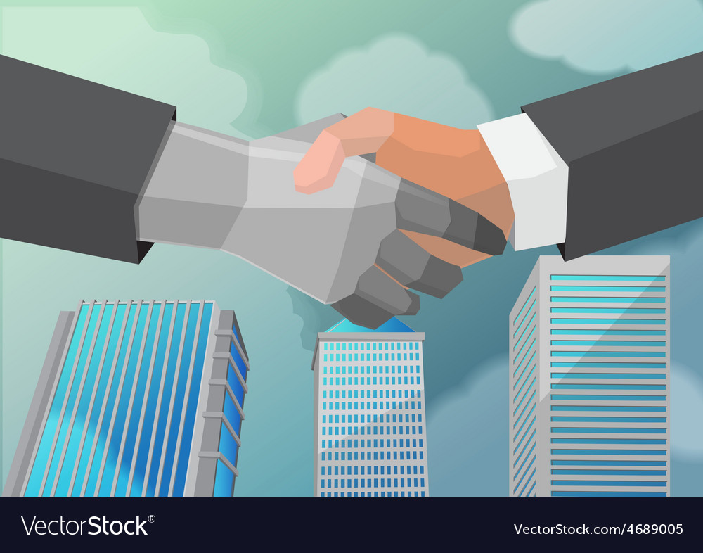 Shake hand business partner city vector | Price: 1 Credit (USD $1)