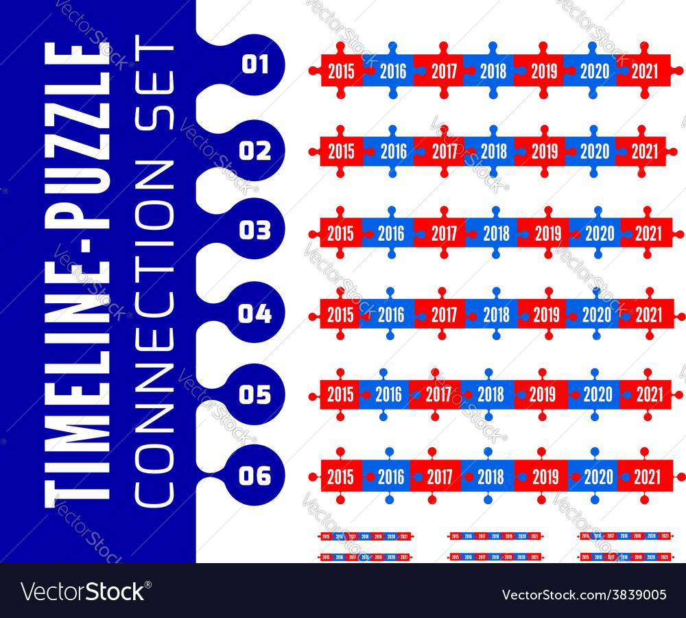 Timeline puzzle connection set vector | Price: 1 Credit (USD $1)
