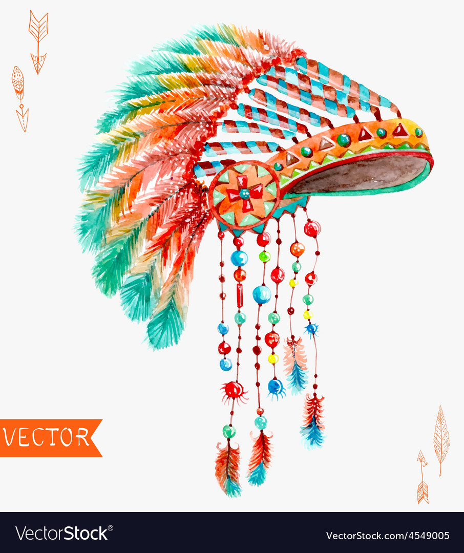 Tribal indian hat watercolor background vector | Price: 1 Credit (USD $1)