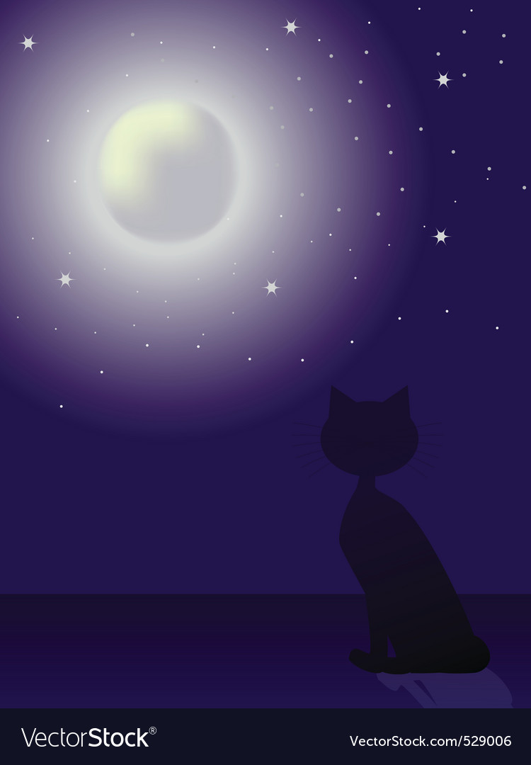 Cat silhouette sitting on a roof and looking at th vector | Price: 1 Credit (USD $1)
