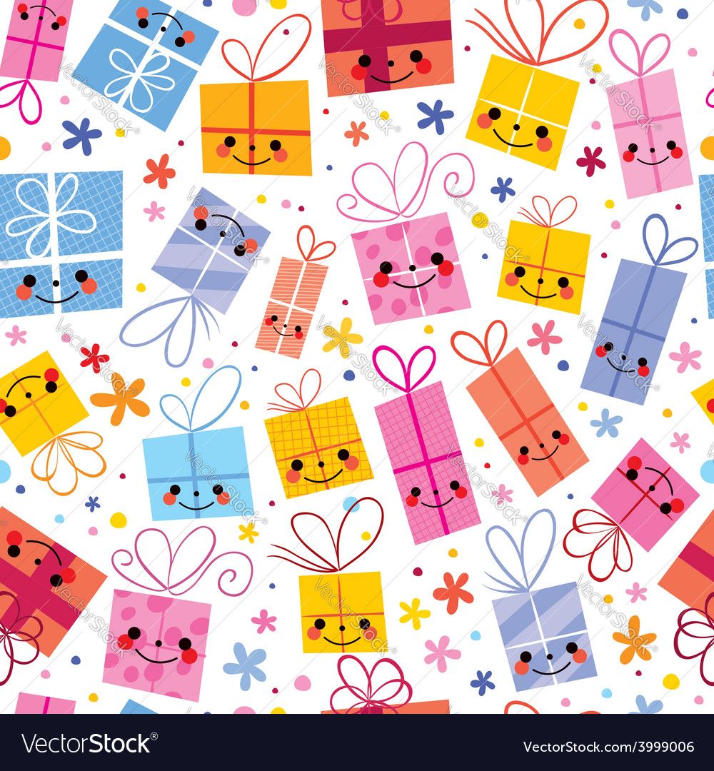 Cute gifts wrapping paper seamless pattern vector | Price: 1 Credit (USD $1)