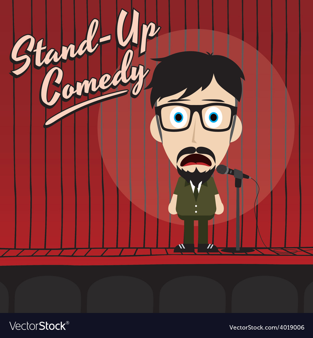 Hilarious guy stand up comedian cartoon vector | Price: 1 Credit (USD $1)