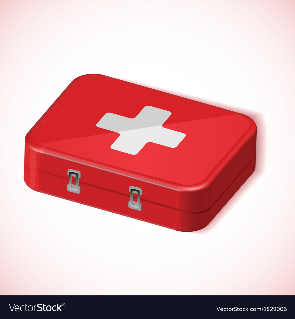Medical box red health kit icon vector | Price: 1 Credit (USD $1)