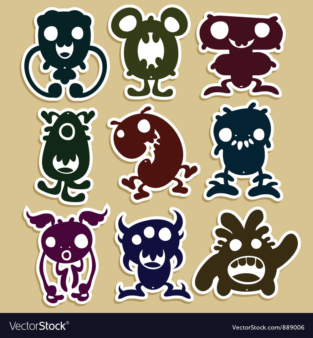 Mini monsters set 1 vector | Price: 1 Credit (USD $1)