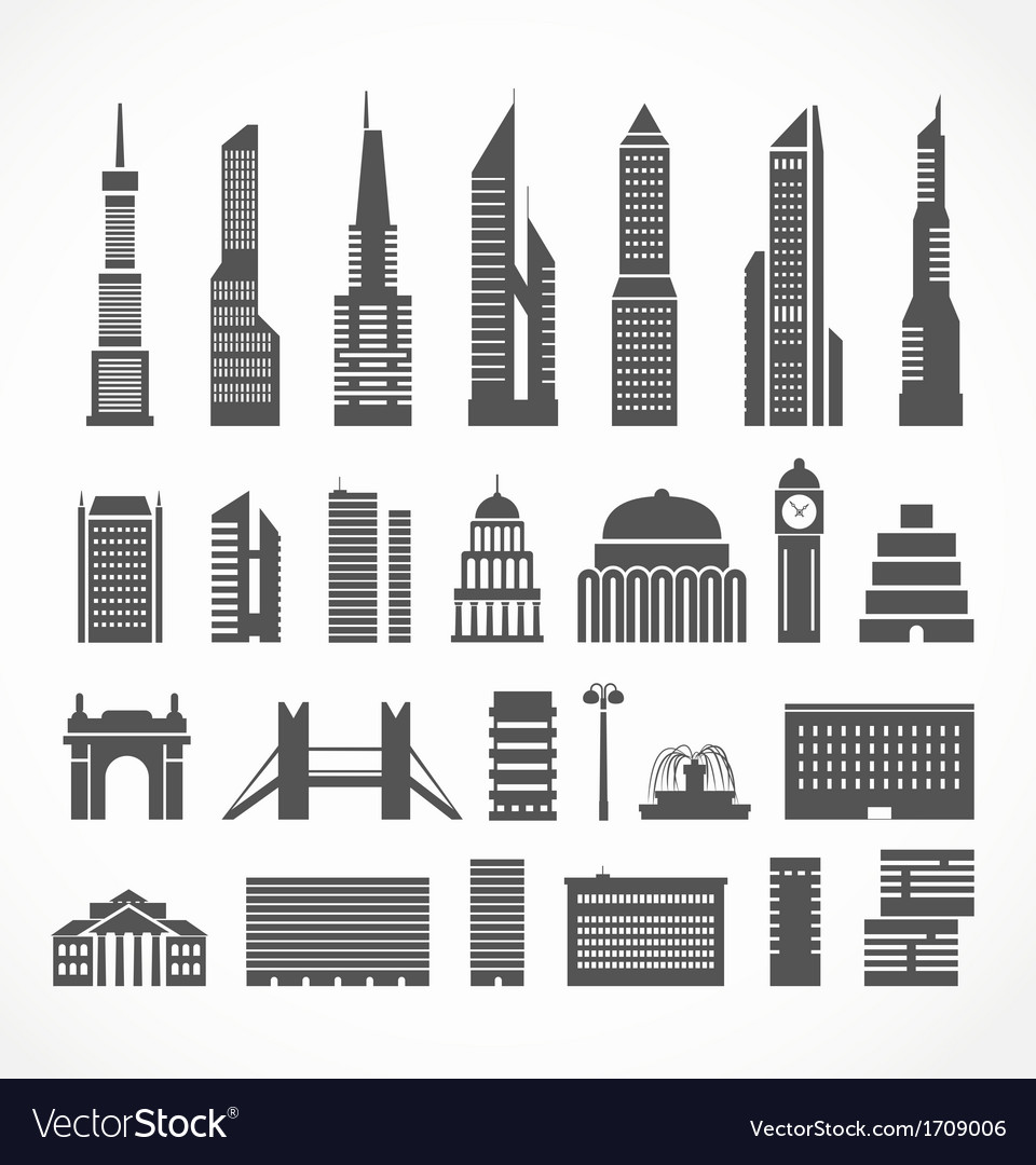 Modern city elements silhouettes collection vector | Price: 1 Credit (USD $1)