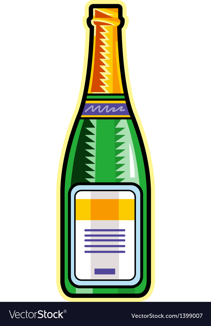 A bottle of champagne is placed vector | Price: 1 Credit (USD $1)