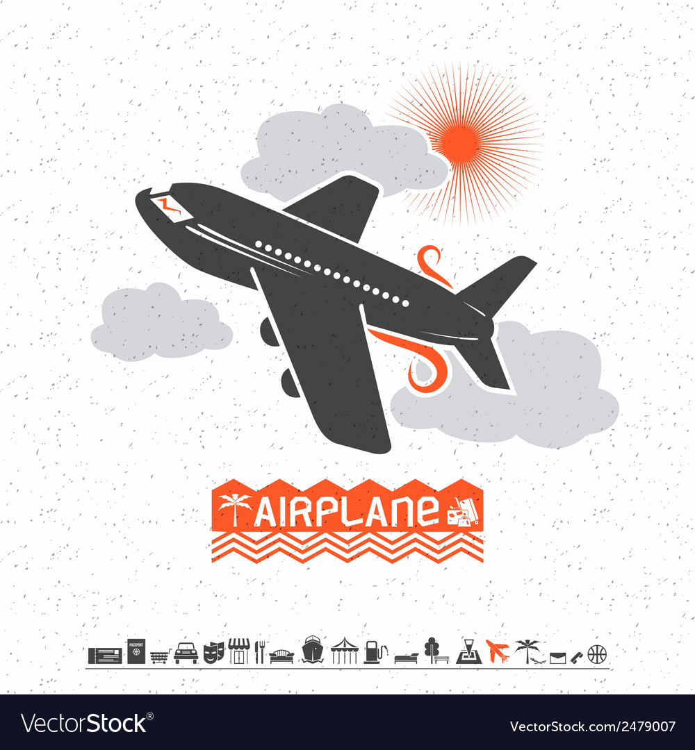 Airplane in the clouds and travel icons vector | Price: 1 Credit (USD $1)