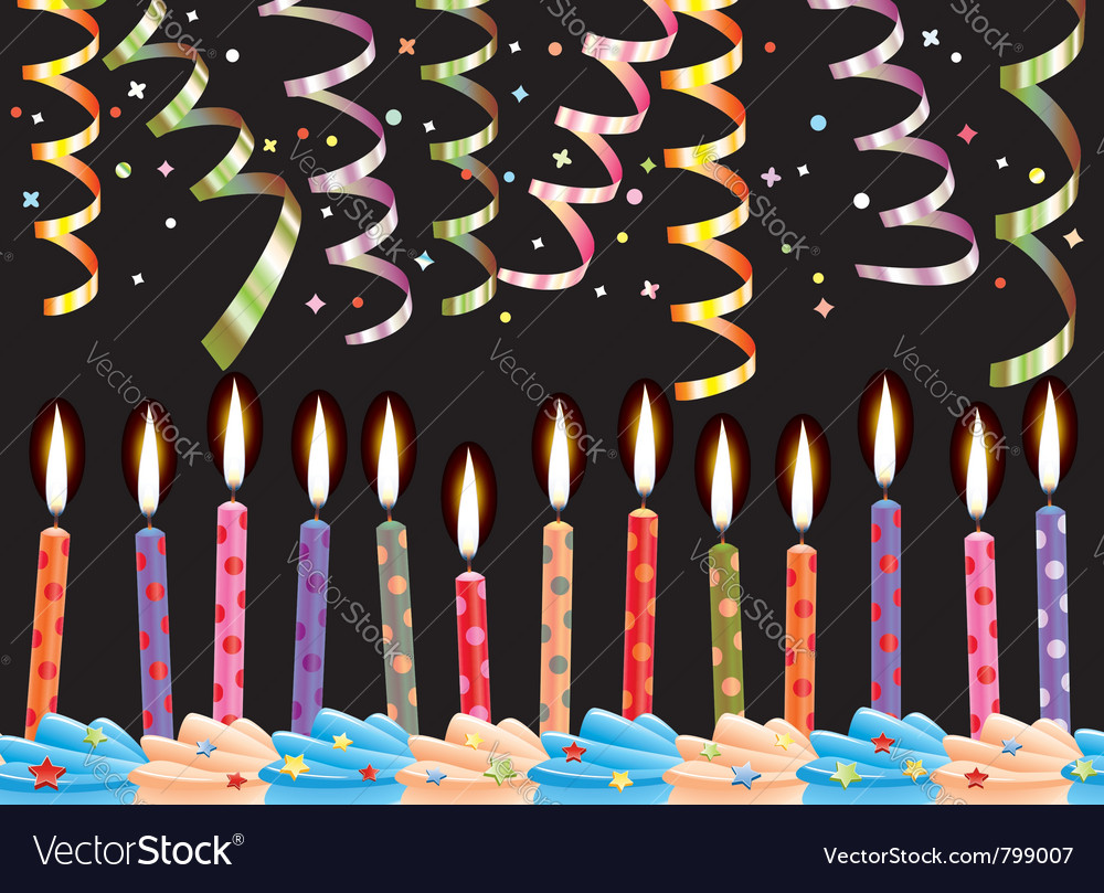 Birthday candles and streamers vector | Price: 1 Credit (USD $1)