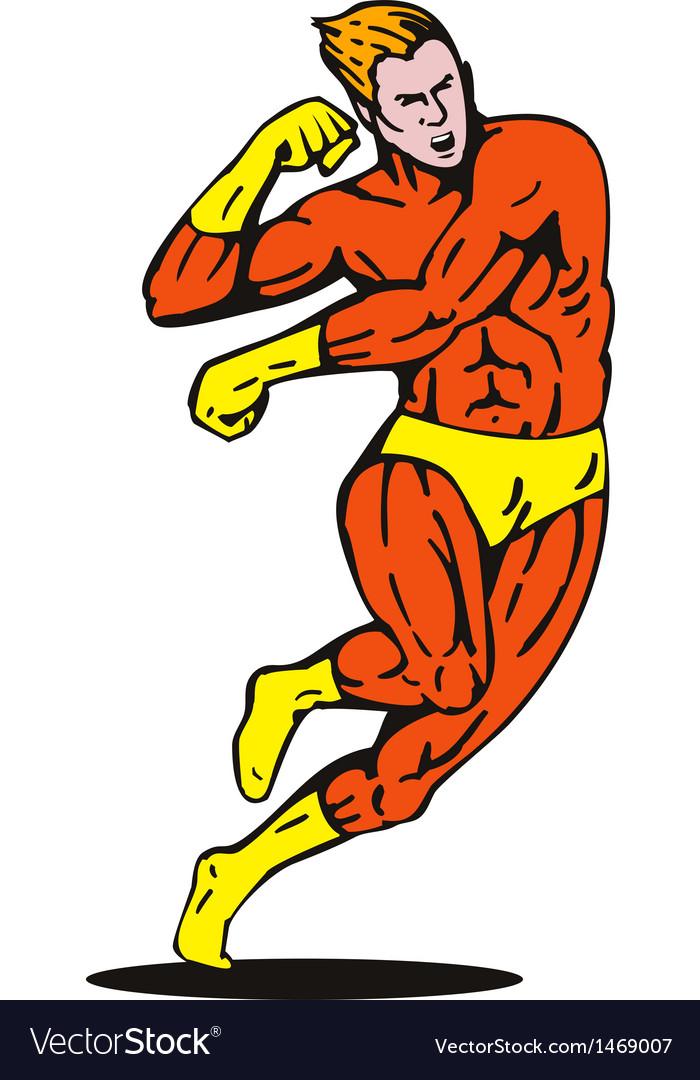 Cartoon super hero running punching vector | Price: 1 Credit (USD $1)