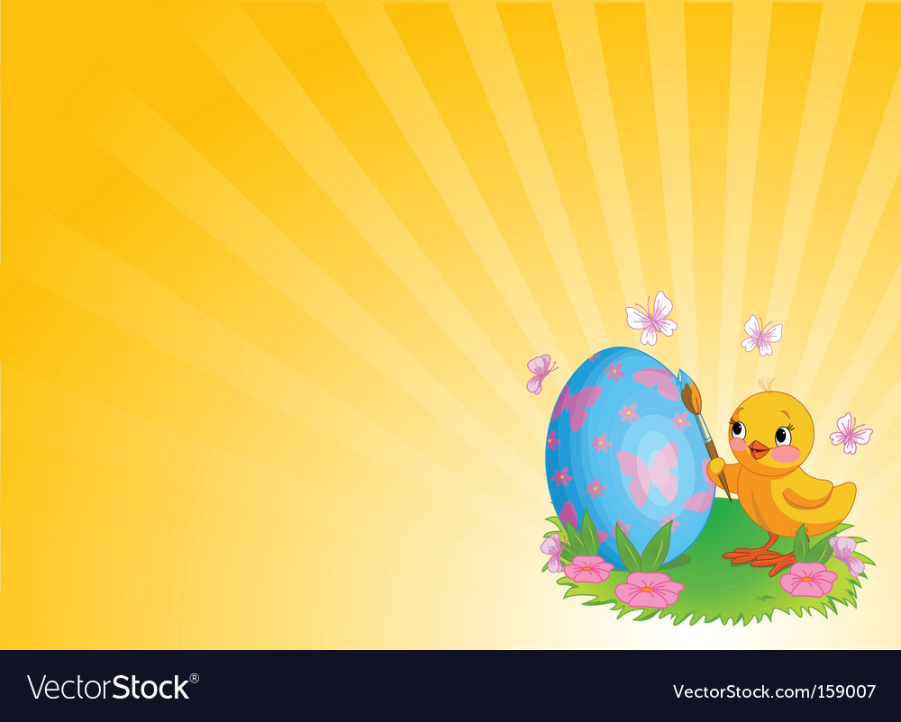 Chicken painting easter egg background vector | Price: 3 Credit (USD $3)
