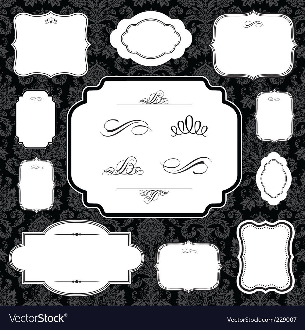 Damask frame set vector | Price: 1 Credit (USD $1)