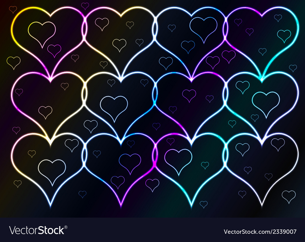Dark background and shining hearts vector | Price: 1 Credit (USD $1)
