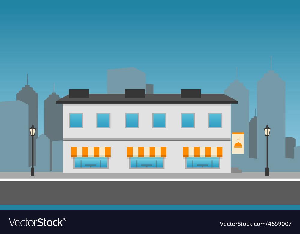 Dark cityscape with restaurant vector | Price: 1 Credit (USD $1)