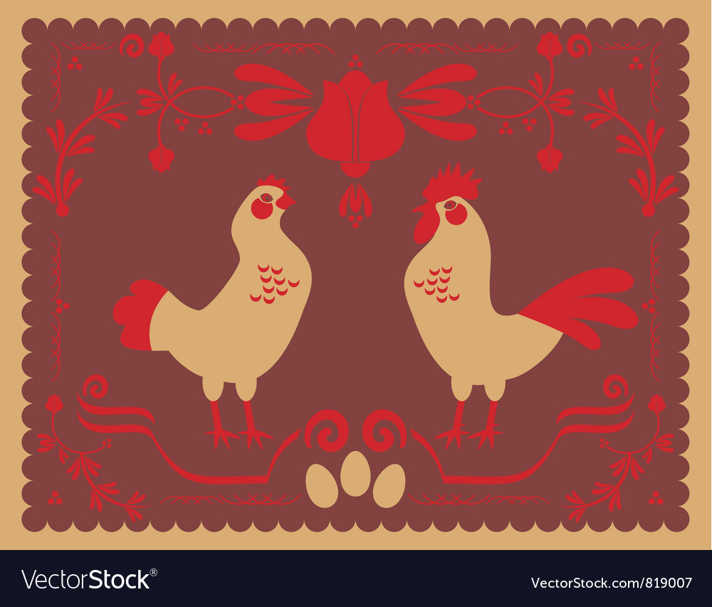 Hen and rooster vector | Price: 1 Credit (USD $1)