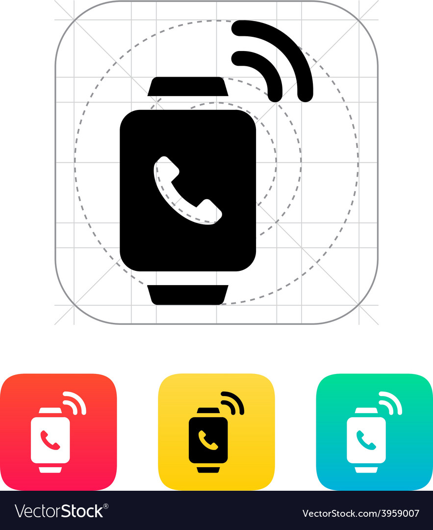 Incoming call on smart watch icon vector | Price: 1 Credit (USD $1)
