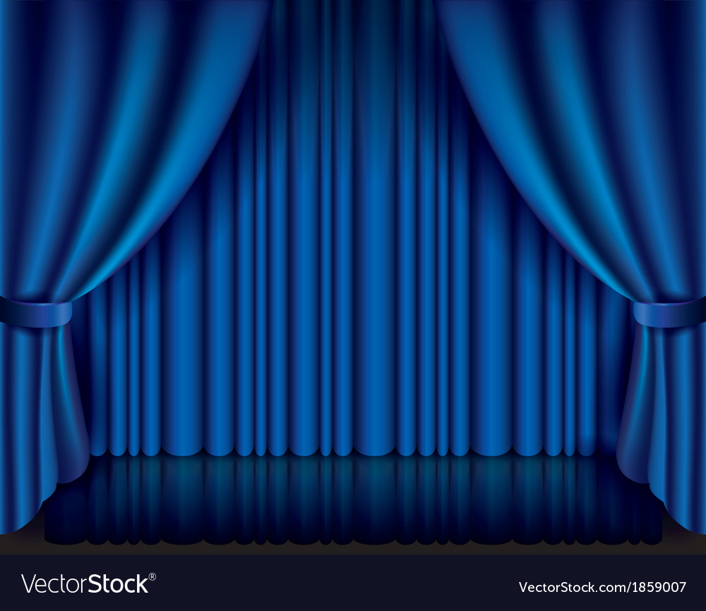 Object curtain blue vector | Price: 1 Credit (USD $1)