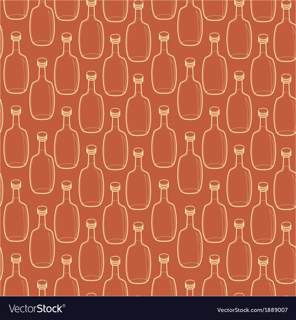 Seamless alcohol bottles pattern on brown vector | Price: 1 Credit (USD $1)