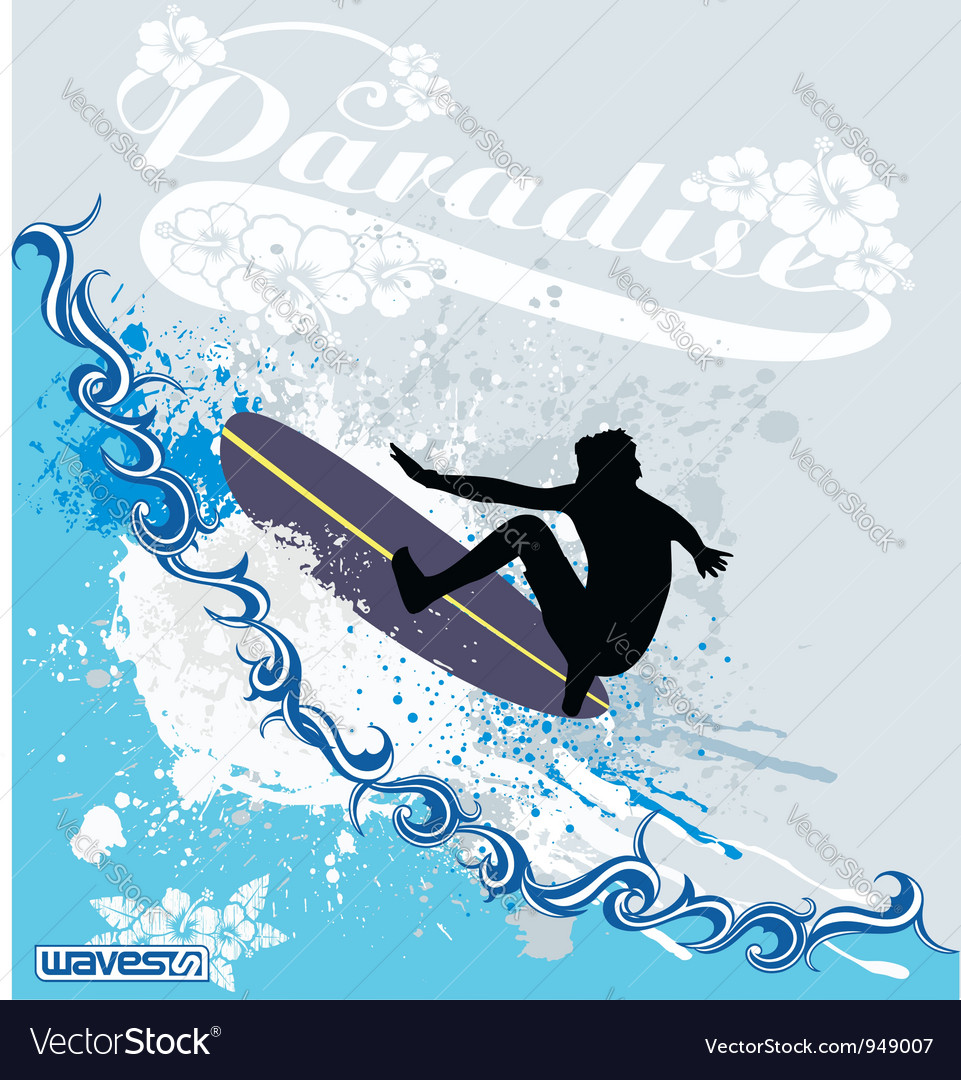 Surfing waves vector | Price: 1 Credit (USD $1)