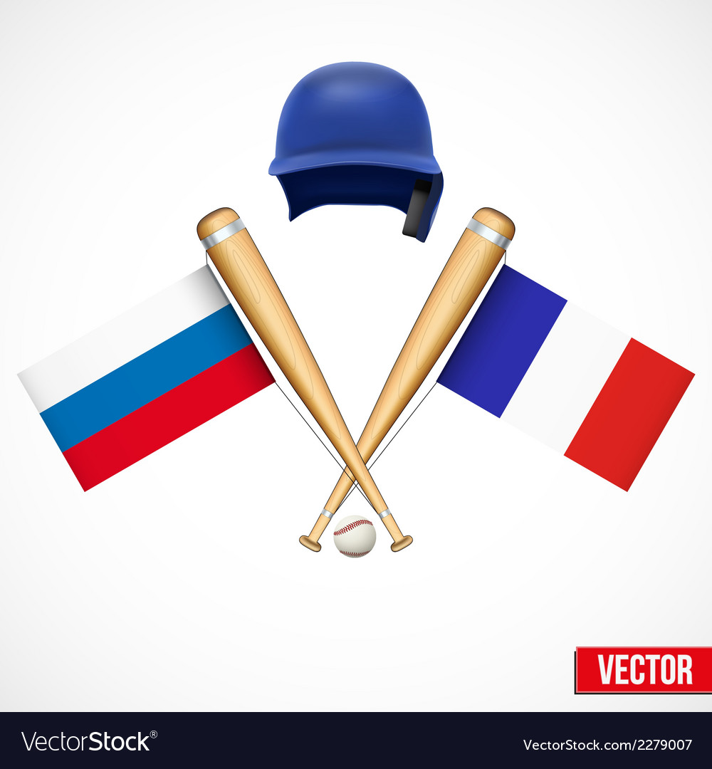 Symbols of baseball team russia and france vector | Price: 1 Credit (USD $1)