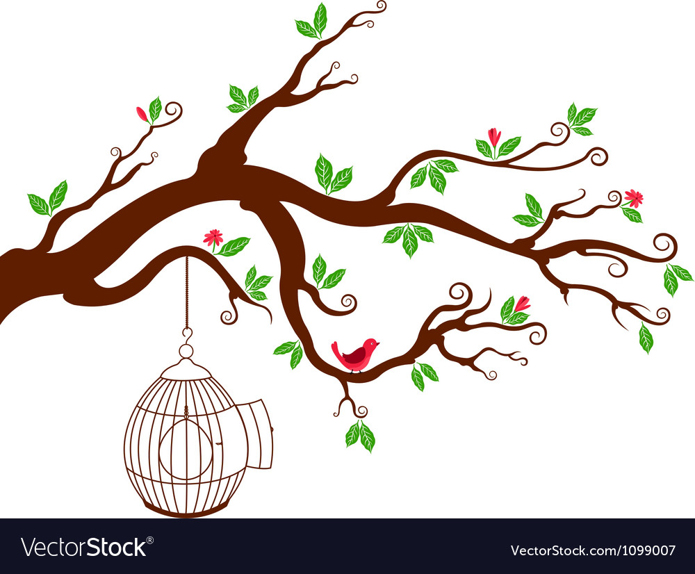 Tree branch with bird cage and beautiful birds vector | Price: 1 Credit (USD $1)