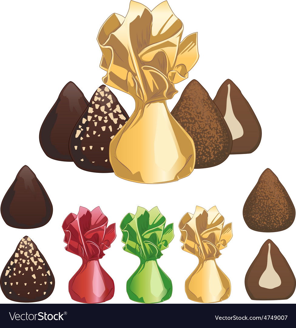 Truffle chocolate candies vector | Price: 3 Credit (USD $3)