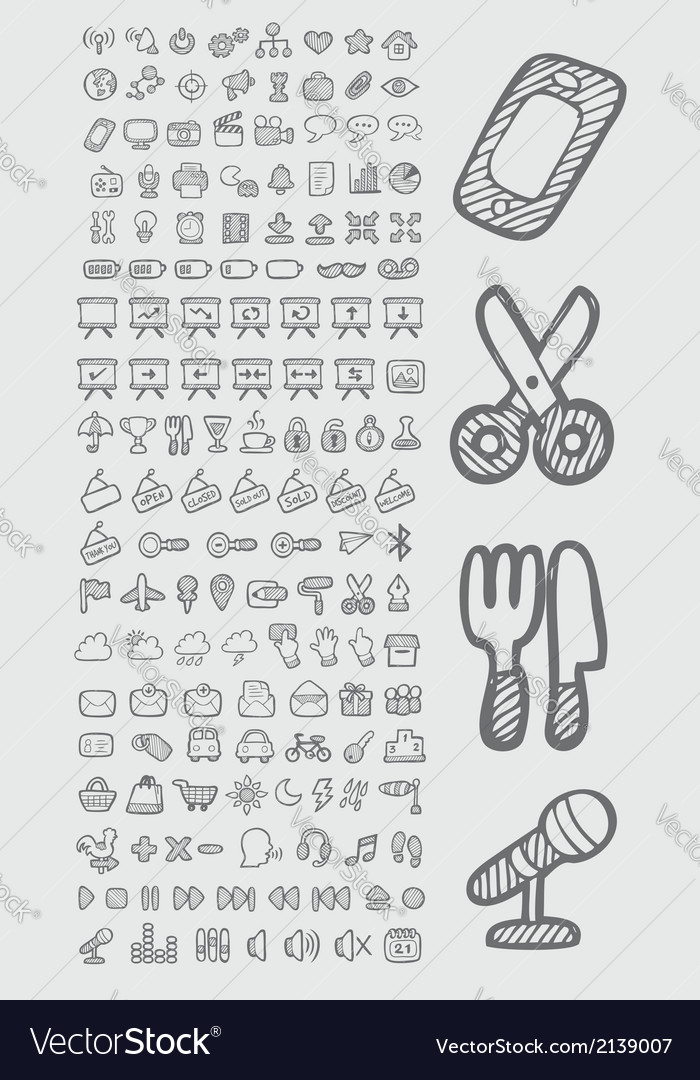 Useful icons sketch vector | Price: 1 Credit (USD $1)
