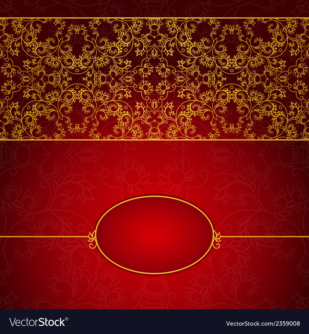 Abstract gold and red invitation frame vector | Price: 1 Credit (USD $1)