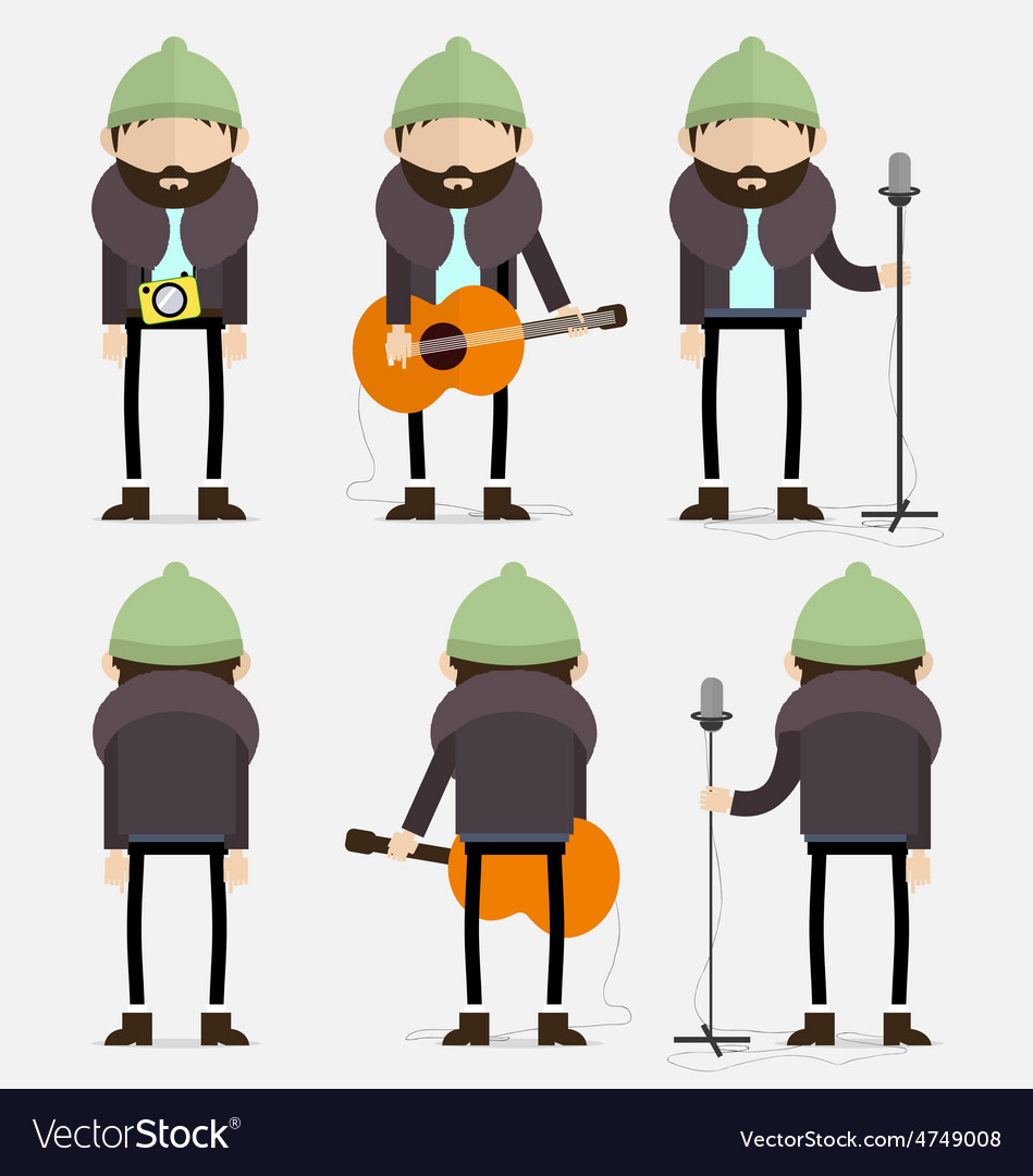 Bearded musician with green hat vector | Price: 1 Credit (USD $1)