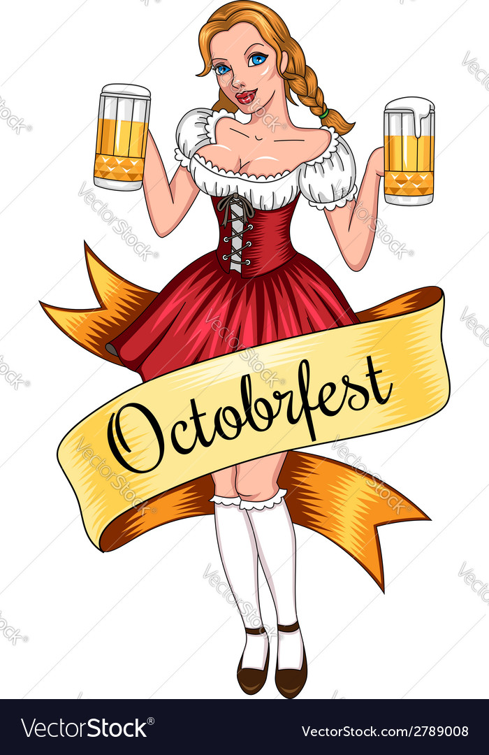 Beer girl octoberfest vector | Price: 1 Credit (USD $1)