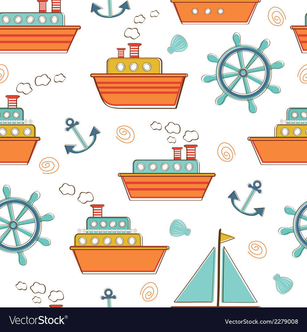 Boats and ships seamless pattern vector | Price: 1 Credit (USD $1)