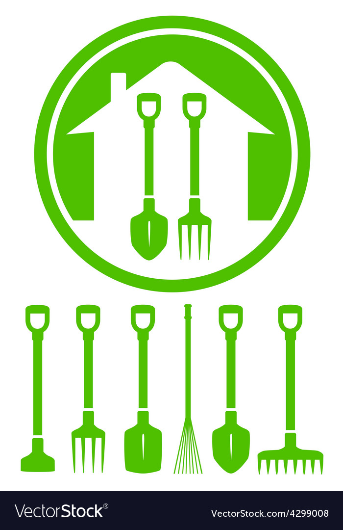 Garden green icon with tools vector | Price: 1 Credit (USD $1)