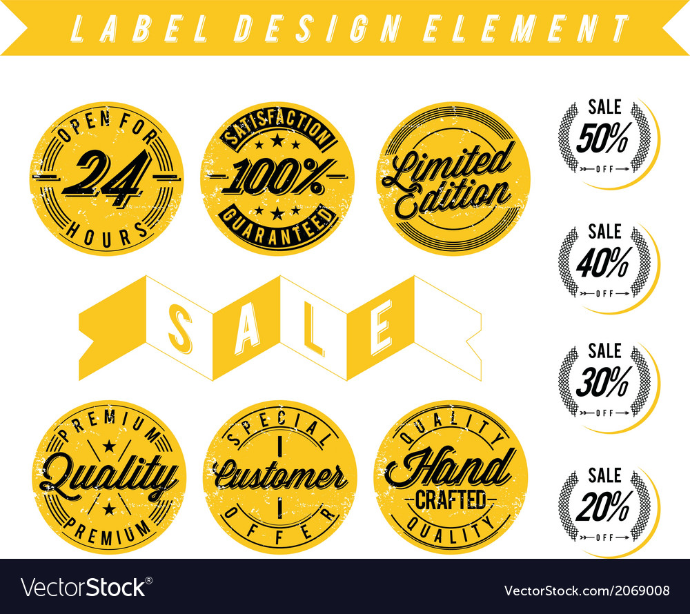Label design element distressed vector | Price: 1 Credit (USD $1)