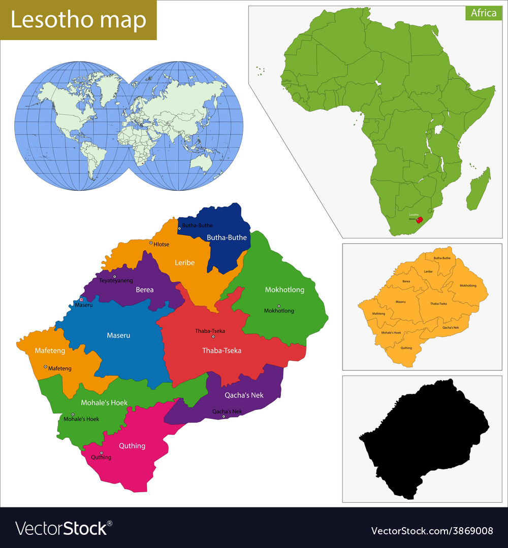 Lesotho map vector | Price: 1 Credit (USD $1)