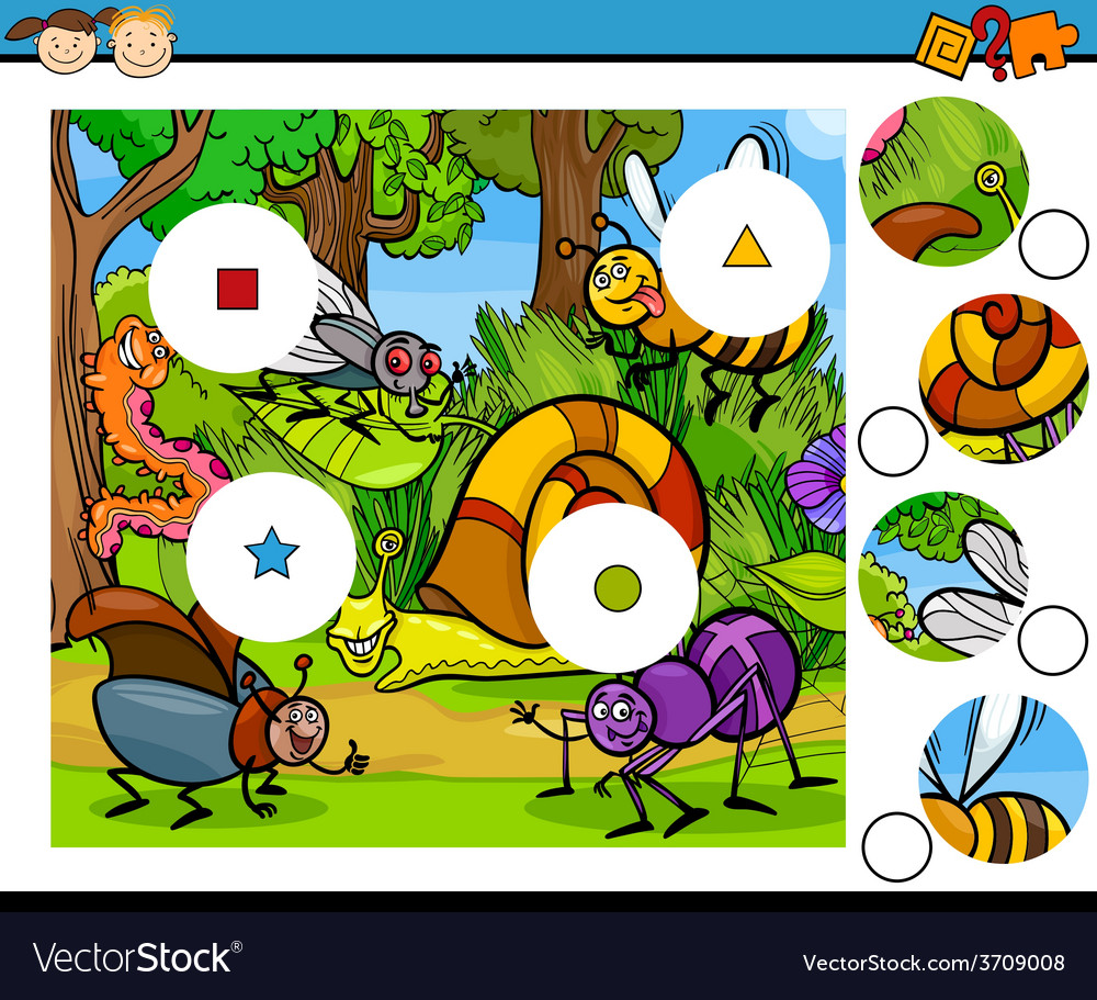 Match pieces game cartoon vector | Price: 1 Credit (USD $1)