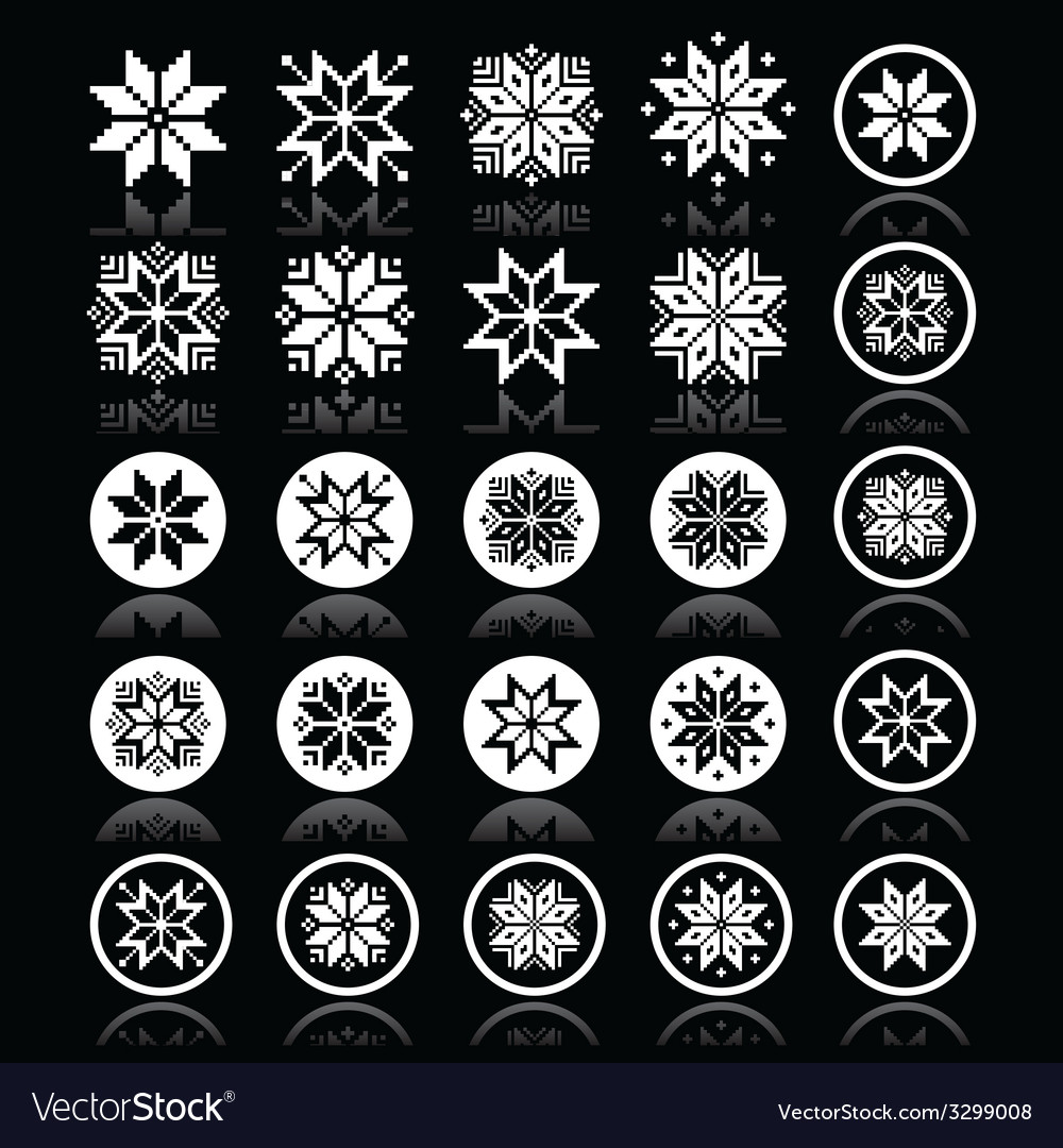 Pixelated snowflakes christmas white icons on bla vector | Price: 1 Credit (USD $1)