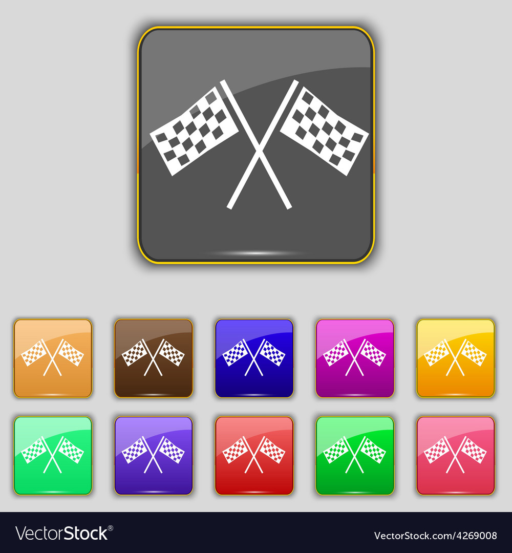 Race flag finish icon sign set with eleven colored vector | Price: 1 Credit (USD $1)