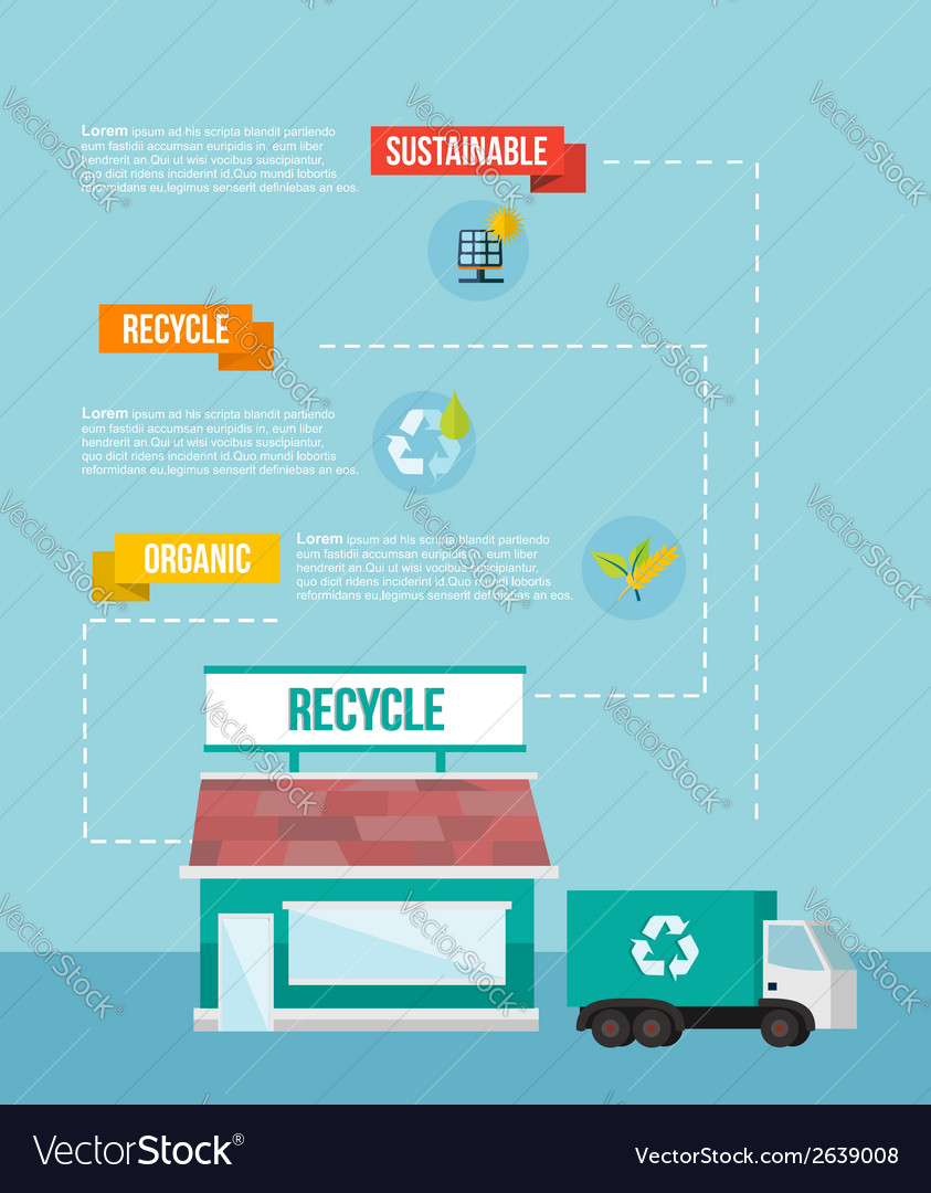 Recycle system flat iinfographics vector | Price: 1 Credit (USD $1)