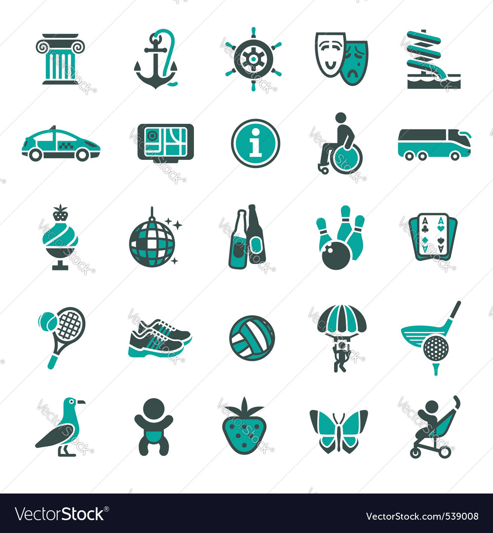 Signs recreation travel  vacation fourth set vector | Price: 1 Credit (USD $1)